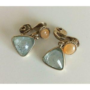 Monet Womens Earrings Dangle Crackle Glass Clip On